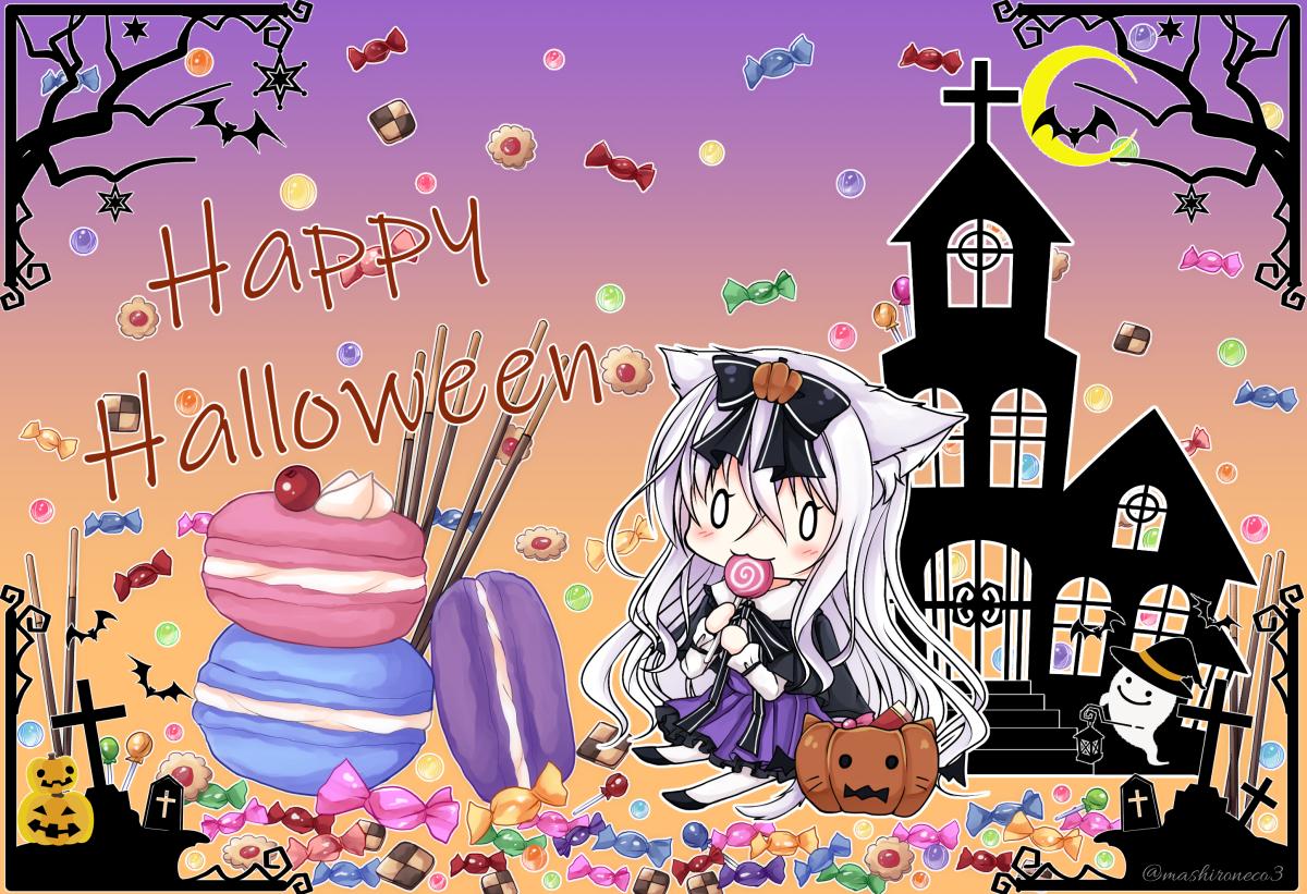 animal animal_ears bat blush bow candy catgirl cat_smile chibi goth-loli halloween lolita_fashion lollipop long_hair original pumpkin tagme_(artist) watermark white_hair
