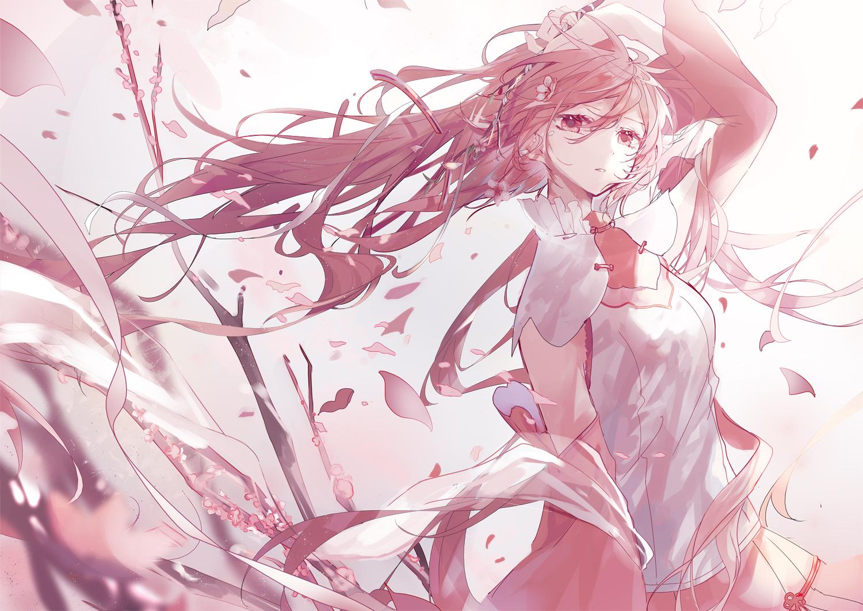amatsukiryoyu hatsune_miku long_hair petals pink_eyes pink_hair polychromatic sakura_miku vocaloid