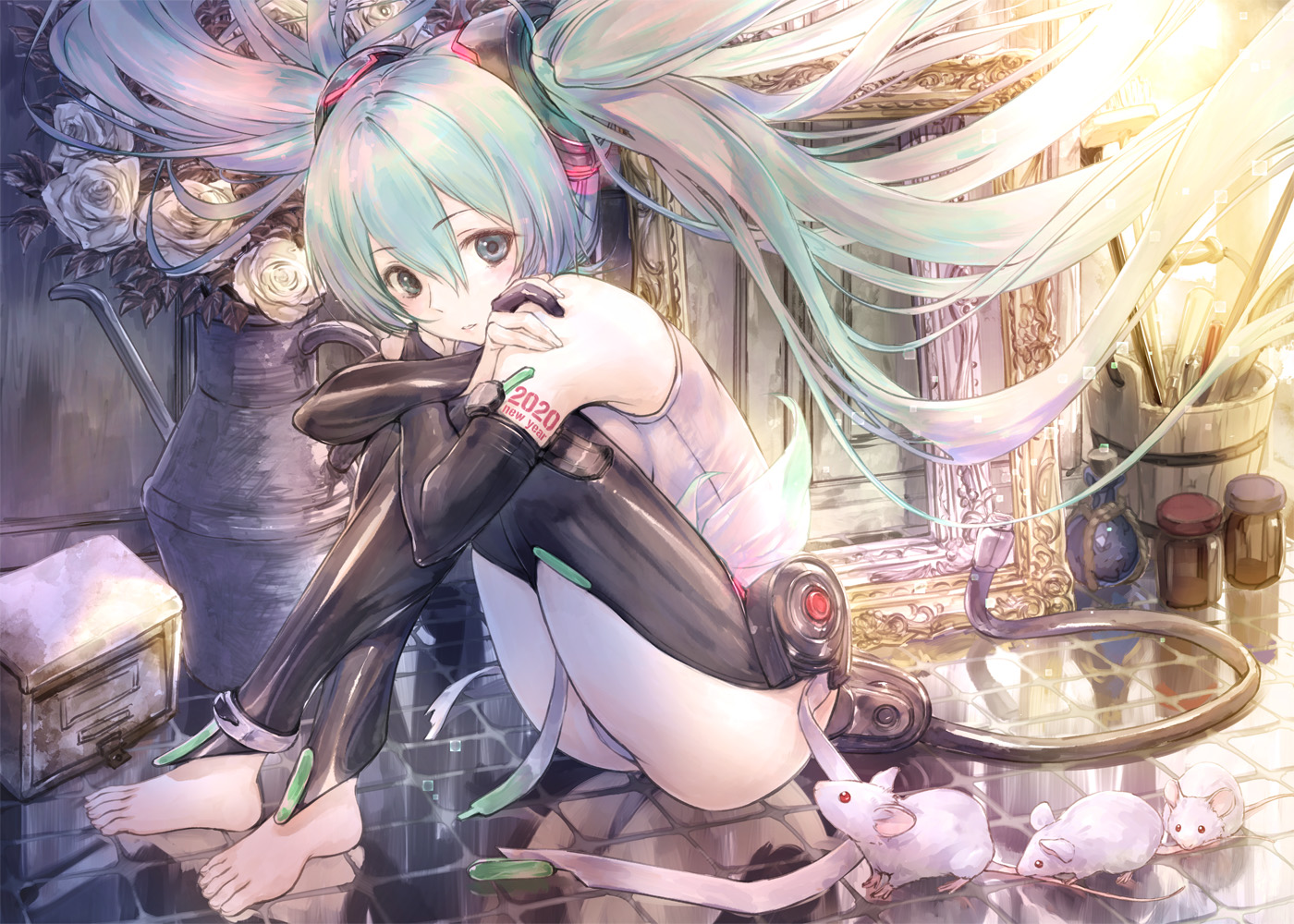 animal barefoot blue_eyes blue_hair ek_masato elbow_gloves flowers gloves hatsune_miku long_hair miku_append mouse reflection tattoo twintails vocaloid