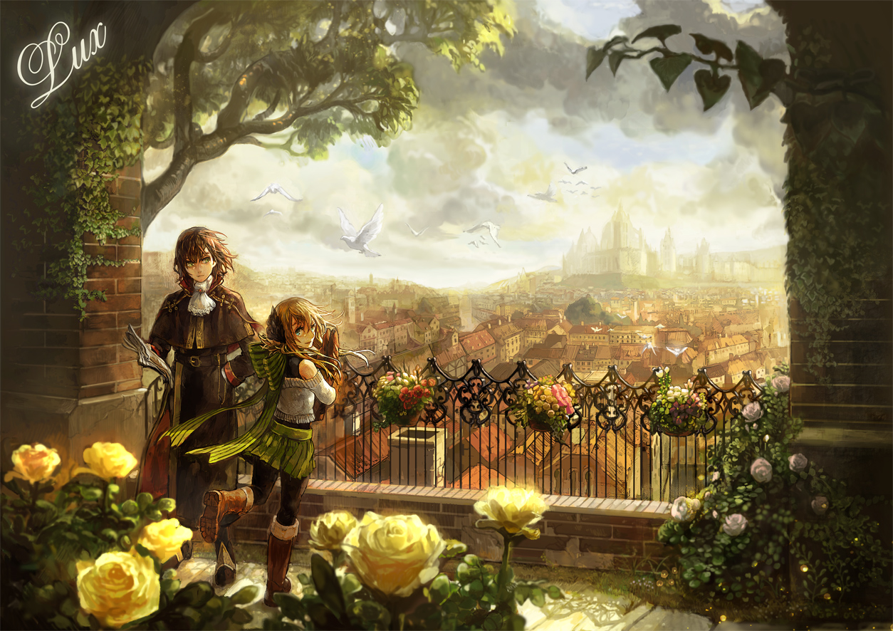 animal bird blue_eyes boots bow brown_hair building chibi_(shimon) city clouds flowers green_eyes landscape original rose scarf scenic sky tree