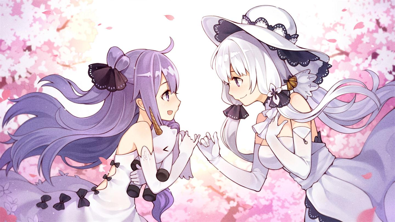 2girls anthropomorphism azur_lane bow elbow_gloves flowers gloves hat illustrious_(azur_lane) long_hair petals ponytail purple_hair tsubasa_tsubasa twintails unicorn_(azur_lane) white_hair