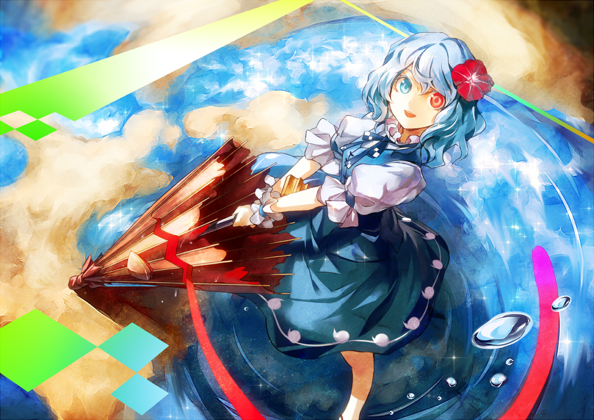 bicolored_eyes blue_hair dress kozou_(soumuden) short_hair tatara_kogasa touhou umbrella