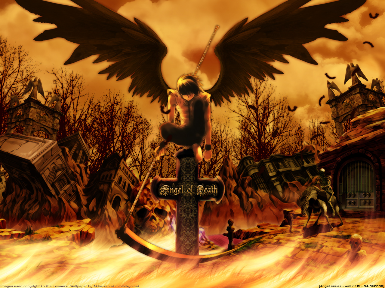 all_male animal bones cross dark feathers fire gothic male ruins scythe weapon wings