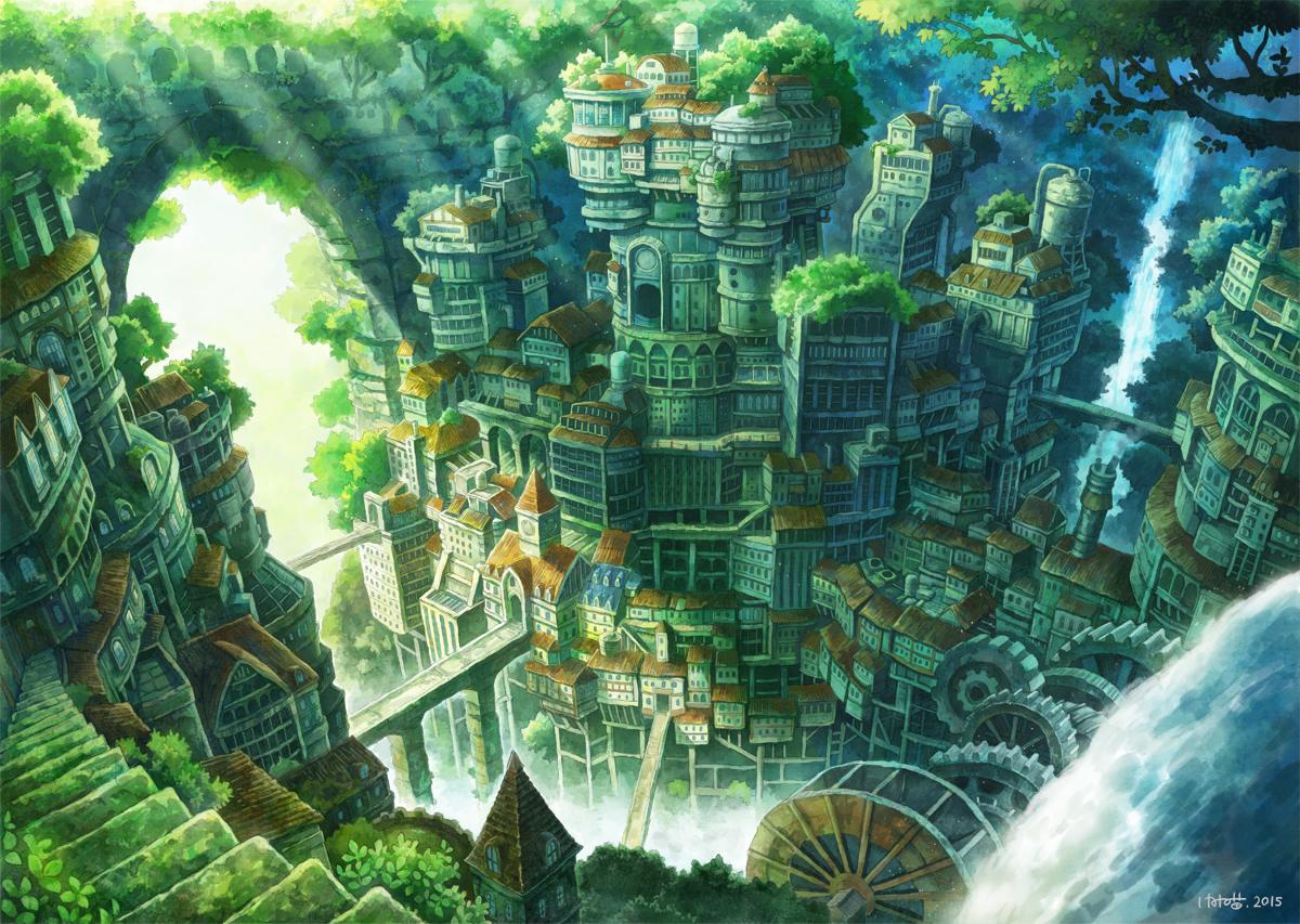 building city green kemi_neko nobody original scenic signed stairs tree water waterfall