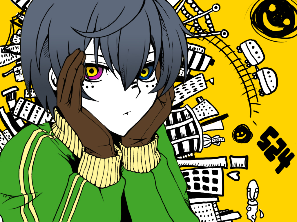 all_male bicolored_eyes building ciel_phantomhive city kuroshitsuji male matryoshka_(vocaloid) parody vocaloid