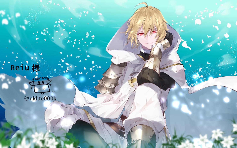 all_male armor blonde_hair cape clouds flowers gloves hoodie male petals red_eyes short_hair sky watermark yuuki_kira