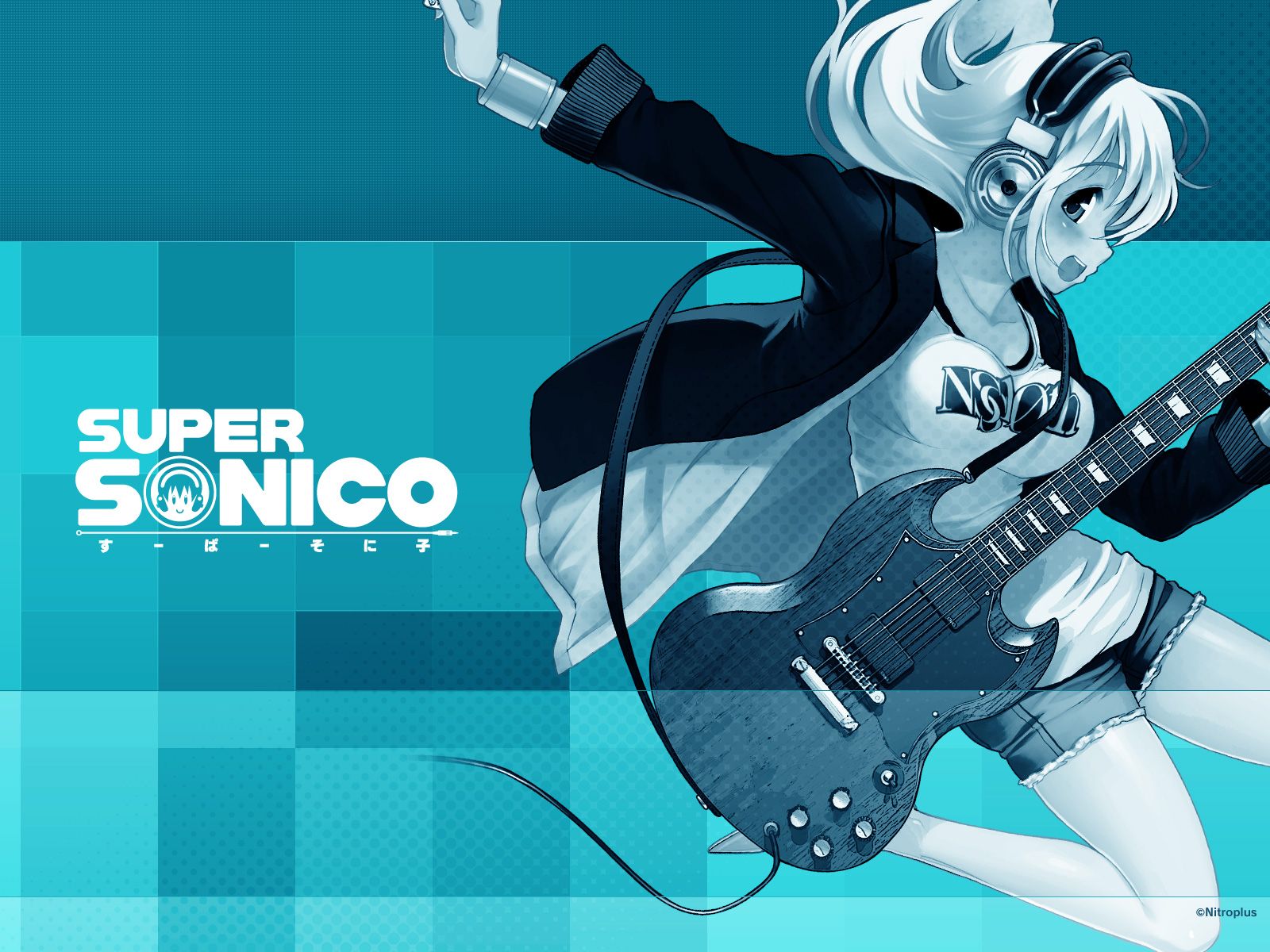 blue guitar headphones instrument jpeg_artifacts nitroplus polychromatic sonico super_sonico