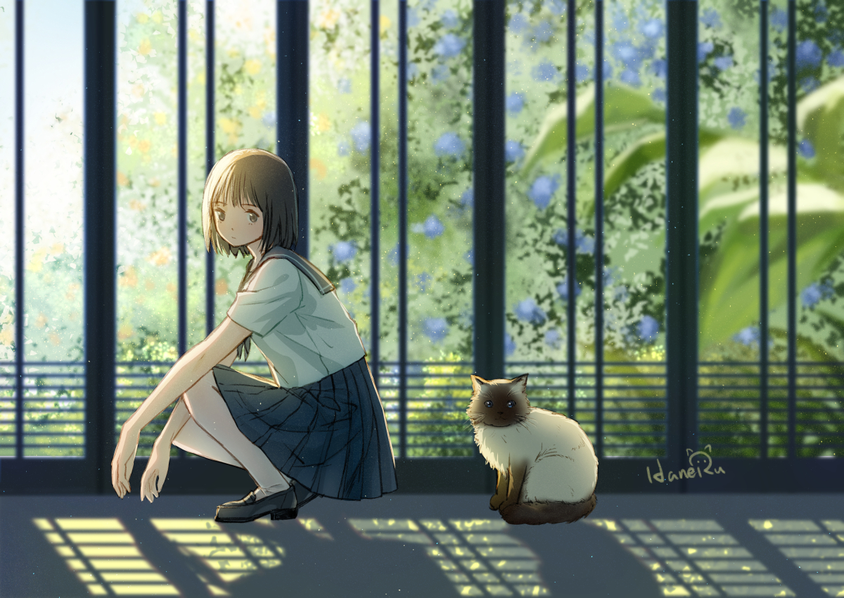 animal brown_eyes brown_hair cat haneru original school_uniform short_hair signed skirt