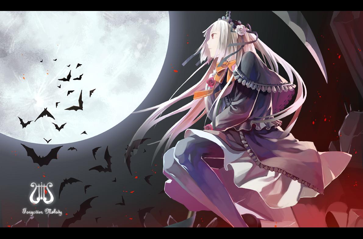 animal bat dress eternita gothic headdress lolita_fashion long_hair moon newrein pantyhose pink_hair red_eyes scythe weapon