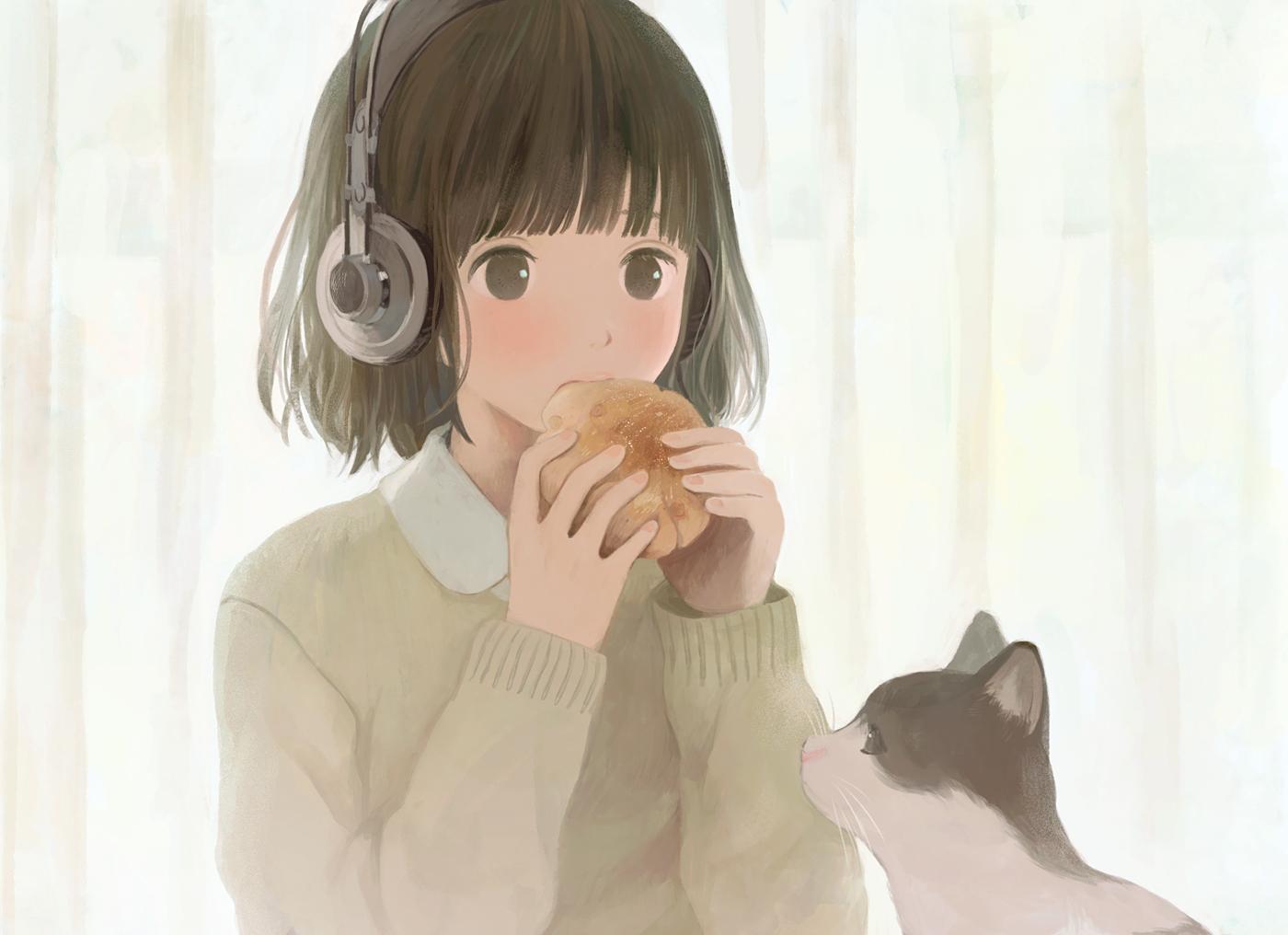 animal brown_eyes brown_hair cat food headphones hinata_(lipcream) original seifuku short_hair