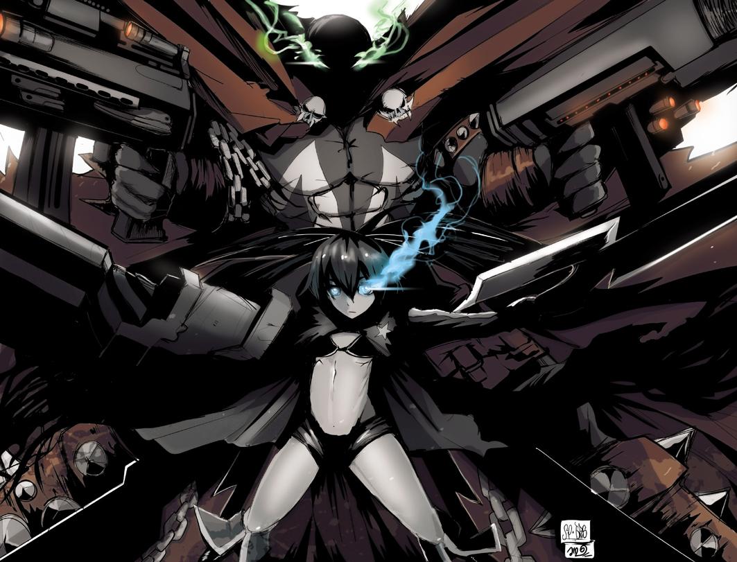 al_simmons black_rock_shooter cape chain crossover gun jinbei kuroi_mato spawn weapon