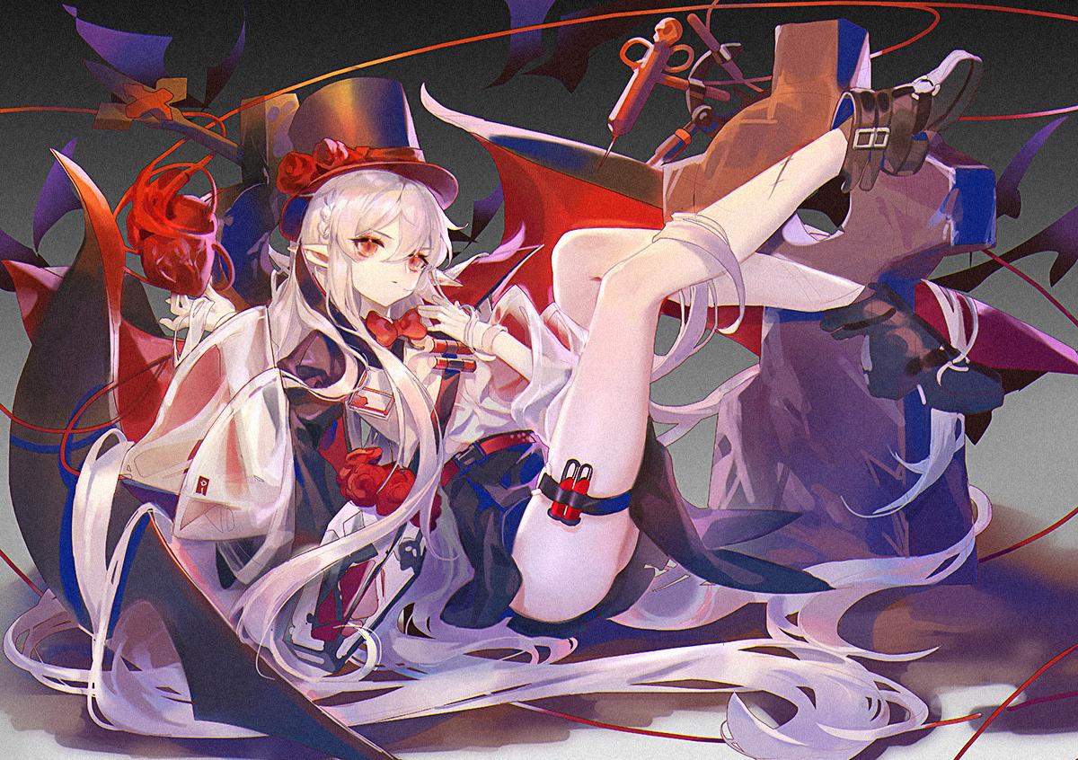 arknights braids cape garter_belt hat long_hair pointed_ears red_eyes samo_(shichun_samo) skirt vampire warfarin_(arknights) white_hair wings