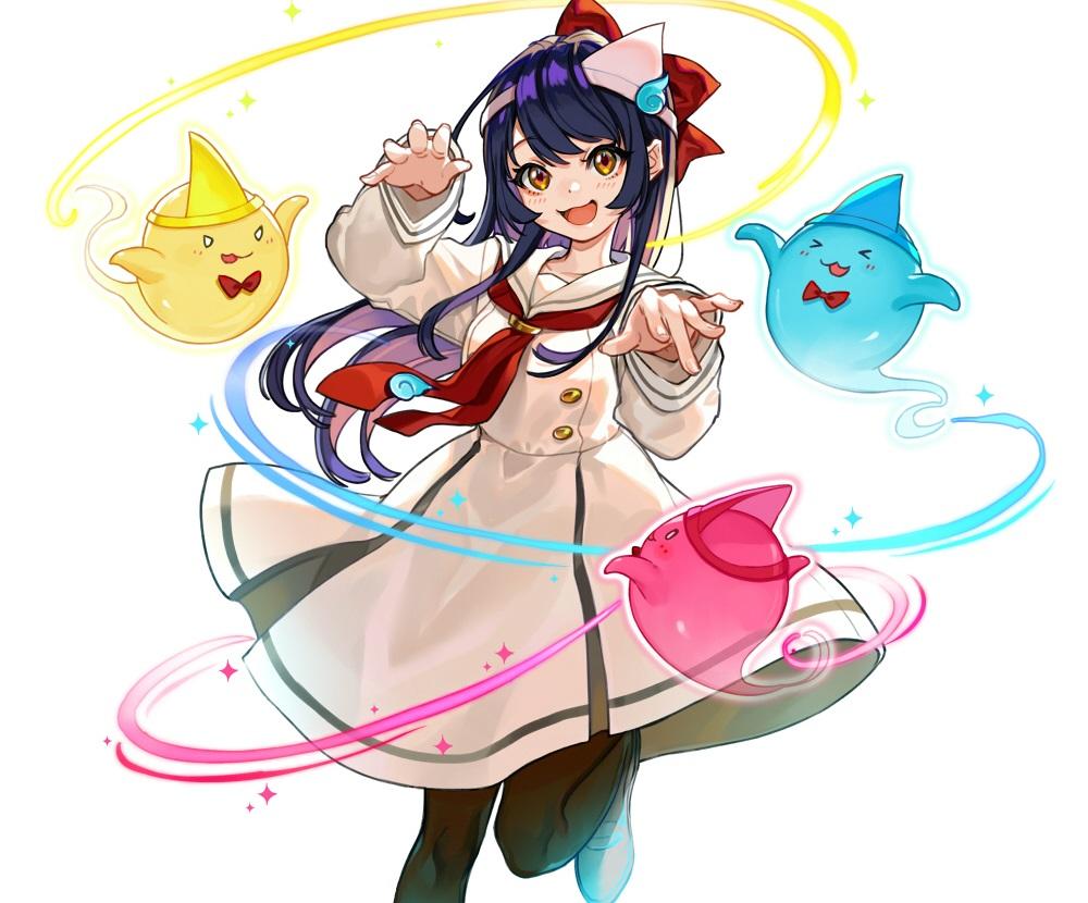 blue_hair blush cat_smile chunithm cropped dress headdress long_hair magic orange_eyes pantyhose school_uniform shishido_misuzu tie white yuu_(higashi_no_penguin)