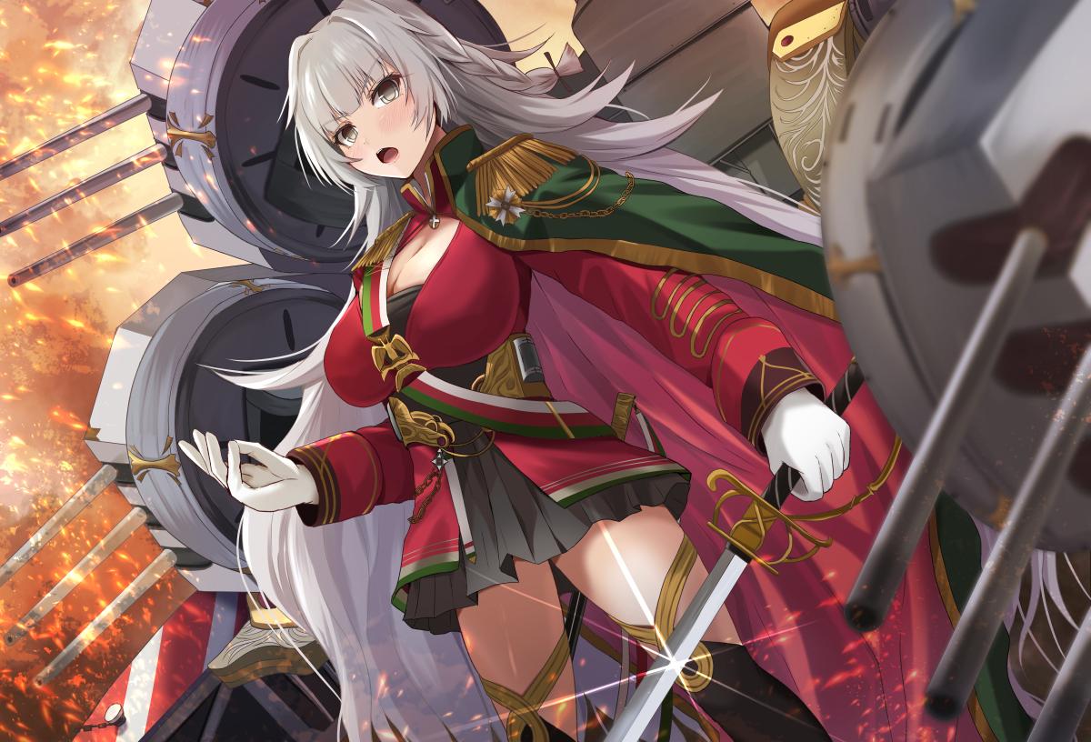 anthropomorphism azur_lane breasts cape cleavage cropped gloves gray_eyes gray_hair kanzaki_kureha long_hair sword thighhighs vittorio_veneto_(azur_lane) weapon