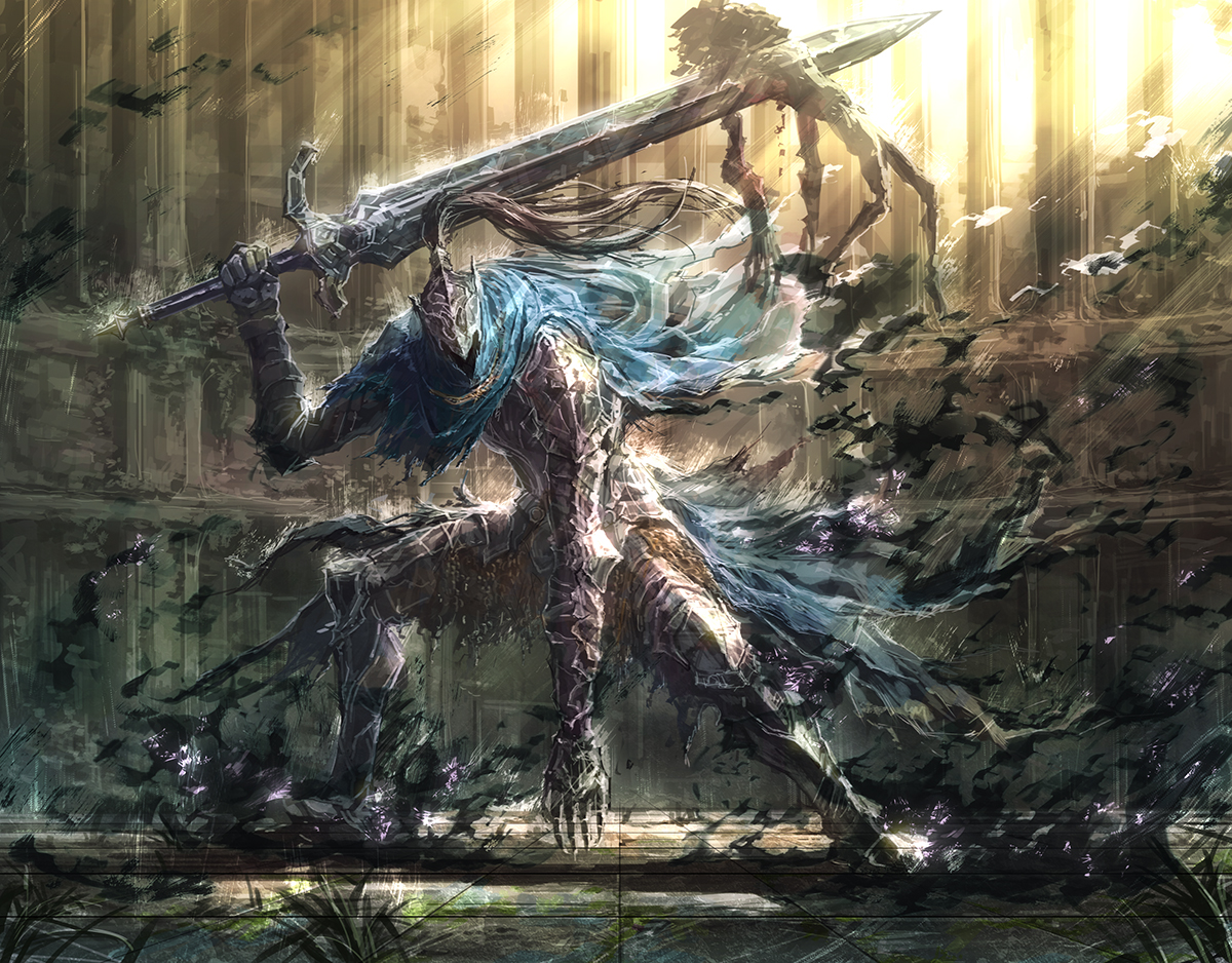 all_male armor artorias_the_abysswalker cape dark_souls fire male michairu sword torn_clothes weapon
