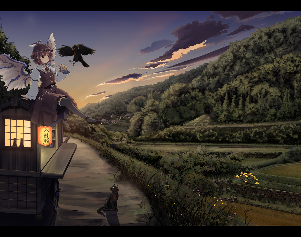 animal bird cat clouds dress grass hat kaenbyou_rin landscape multiple_tails mystia_lorelei pink_hair red_eyes reiuji_utsuho scenic sky sukemasa tail thighhighs touhou tree wings