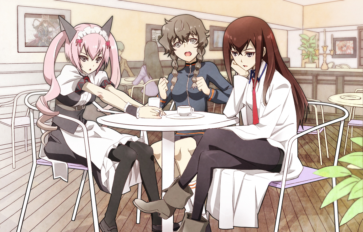 amane_suzuha animal_ears black_eyes boots braids brown_hair catgirl drink faris_nyannyan gray_eyes headdress long_hair makise_kurisu nyoronyoro pantyhose pink_hair socks steins;gate tie twintails