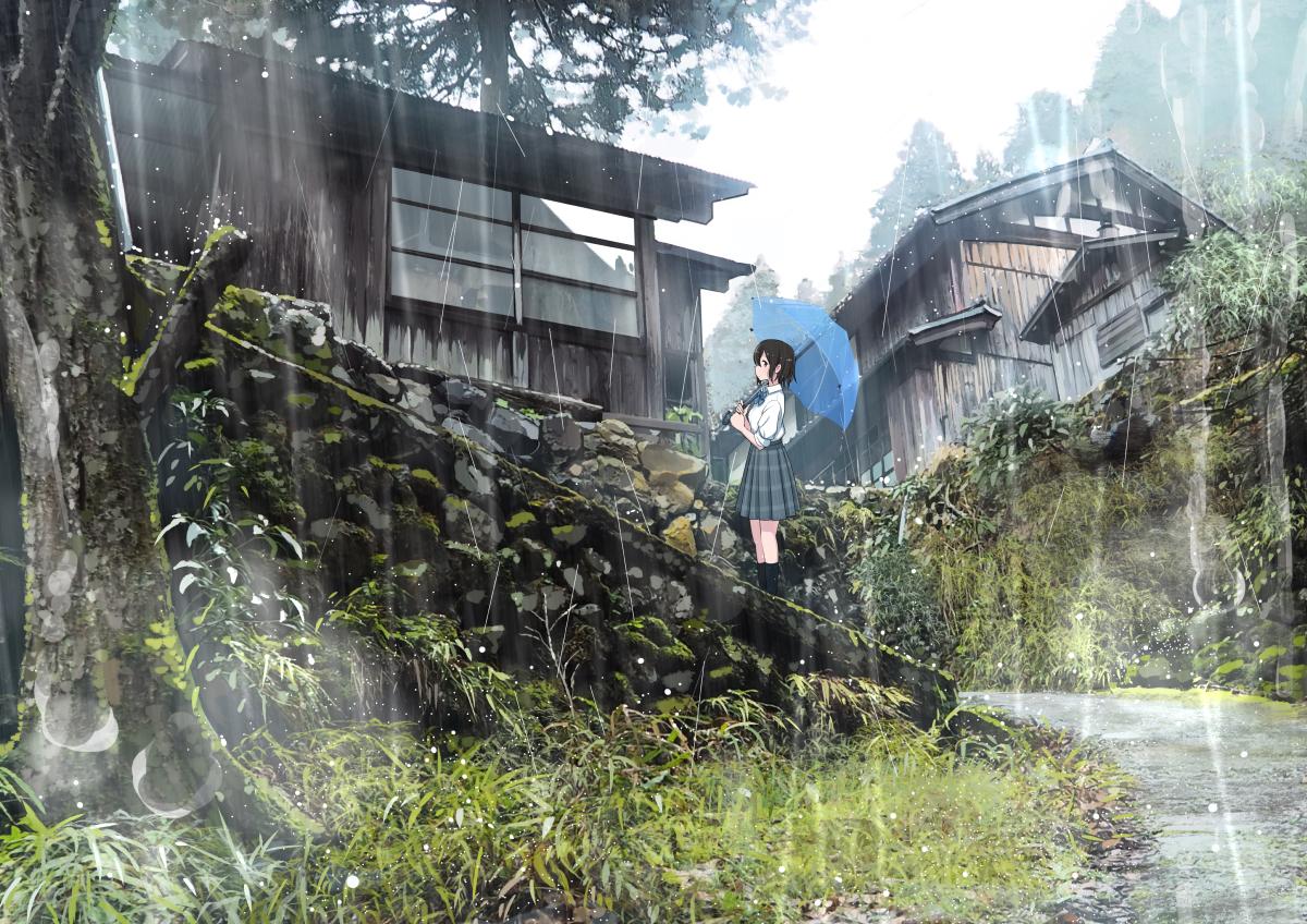 aliasing black_eyes black_hair original rain sakeharasu school_uniform short_hair tree umbrella water