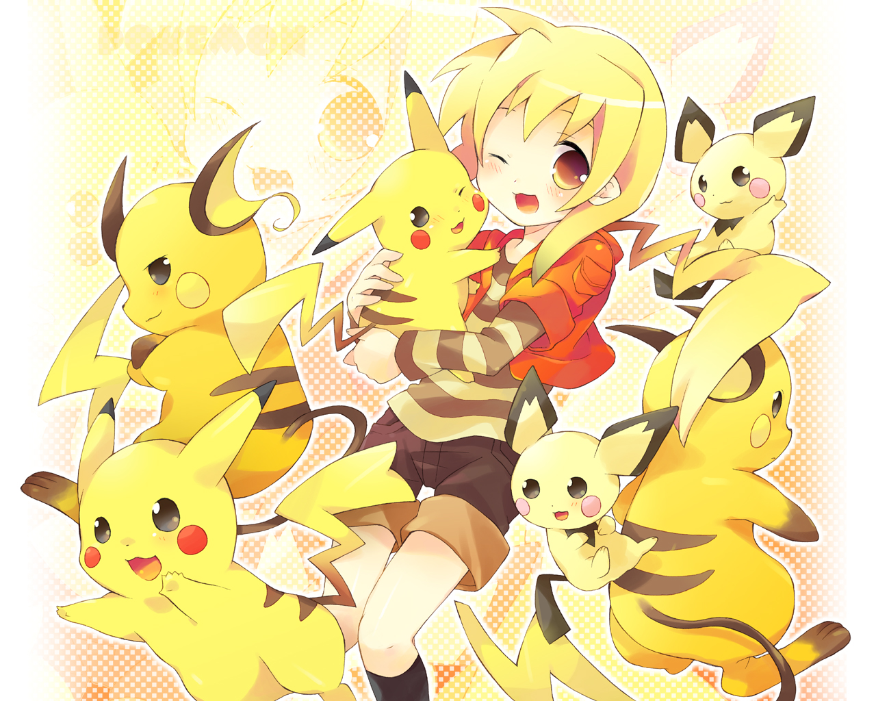 pichu pikachu pokemon raichu tachitsu_teto