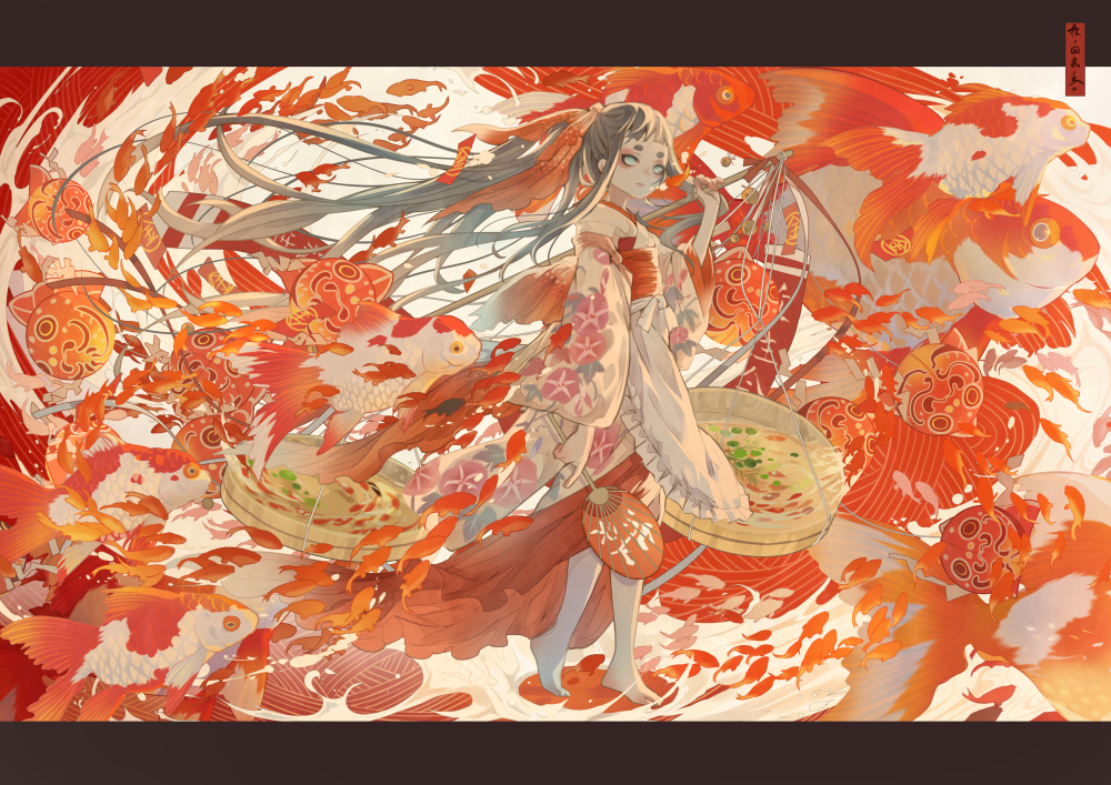 animal apron aqua_eyes black_hair fan fish japanese_clothes kimono long_hair nanahara_shie original ponytail red water