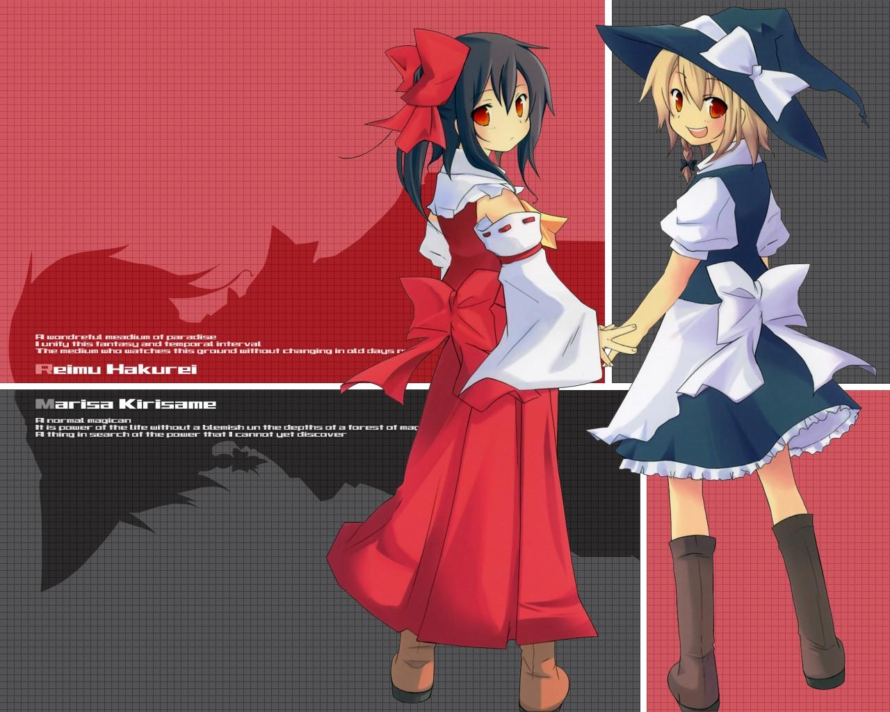blonde_hair hakurei_reimu hat japanese_clothes kirisame_marisa miko red_eyes ribbons touhou witch