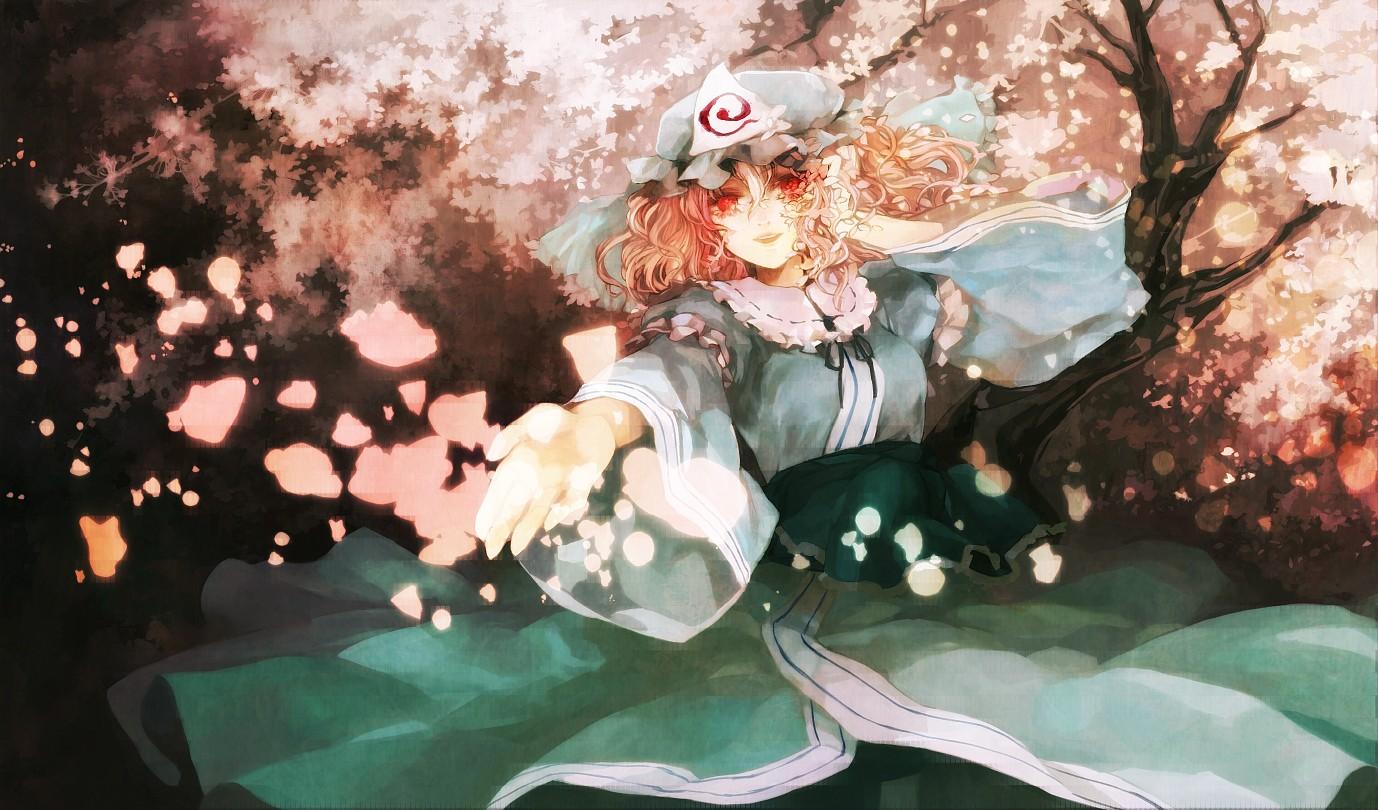 cherry_blossoms flowers hat japanese_clothes kimono petals pink_hair red_eyes saigyouji_yuyuko touhou xero