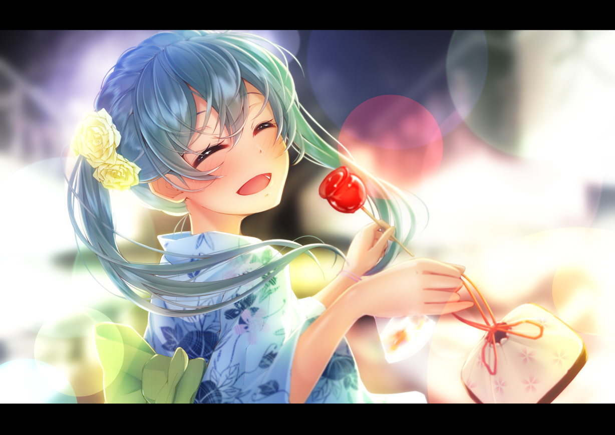 apple candy food fruit hatsune_miku imo_bouya japanese_clothes vocaloid yukata