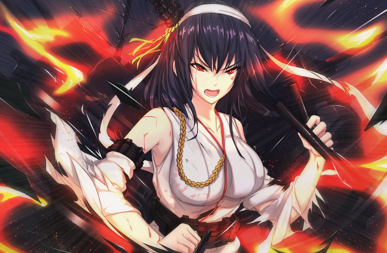 anthropomorphism antiqq black_hair blood breasts fire headband japanese_clothes kantai_collection long_hair miko red_eyes torn_clothes yamashiro_(kancolle)