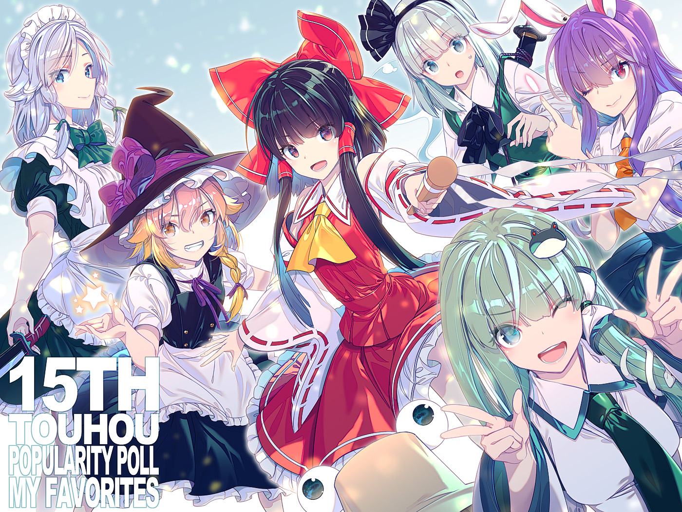 animal animal_ears apron aqua_eyes black_hair blonde_hair bow braids brown_eyes bunny_ears bunnygirl dress gray_eyes gray_hair green_hair group hakurei_reimu hat headdress izayoi_sakuya japanese_clothes kirisame_marisa knife kochiya_sanae konpaku_youmu long_hair maid miko moriya_suwako myon red_eyes reisen_udongein_inaba ribbons short_hair skirt snake sword tie touhou twintails weapon wink witch witch_hat yellow_eyes zounose