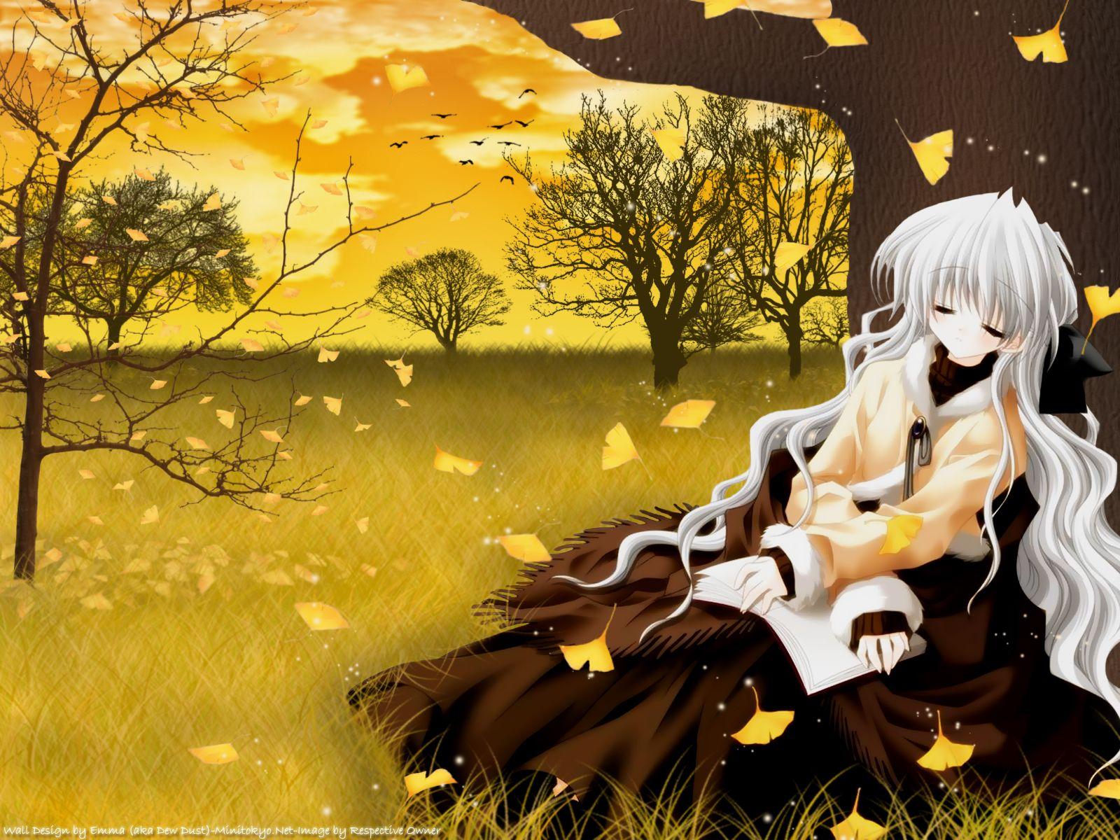 autumn book long_hair re-laive sakurazawa_izumi serizawa_aoi sleeping white_hair