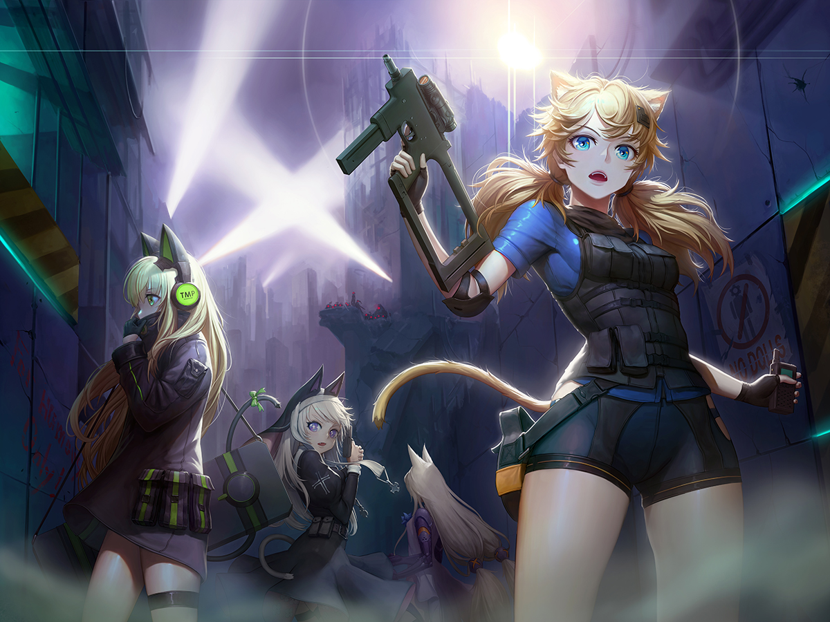 animal_ears anthropomorphism aqua_eyes banajune blonde_hair bodysuit building catgirl city cross dark dress g41_(girls_frontline) garter girls_frontline gloves graffiti green_eyes group gun headdress headphones idw_(girls_frontline) long_hair night nun p7_(girls_frontline) purple_eyes shorts tail tmp_(girls_frontline) twintails weapon white_hair
