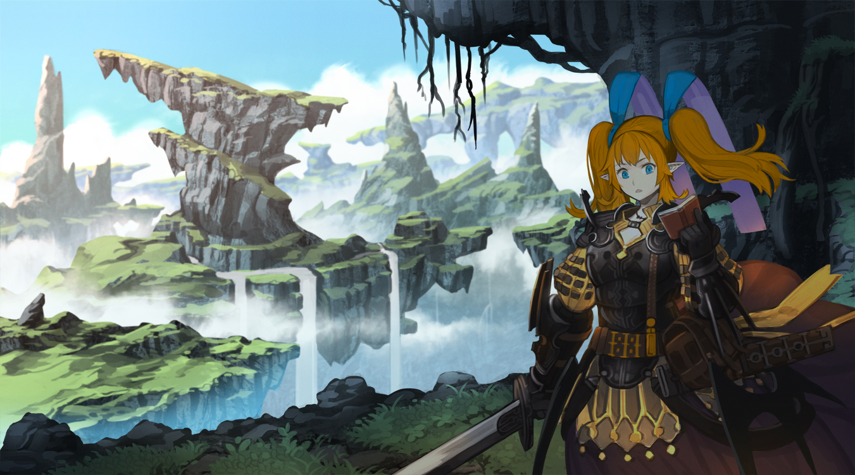 armor blue_eyes nagi_itsuki orange_hair original pixiv_fantasia pointed_ears scenic sword twintails water waterfall weapon