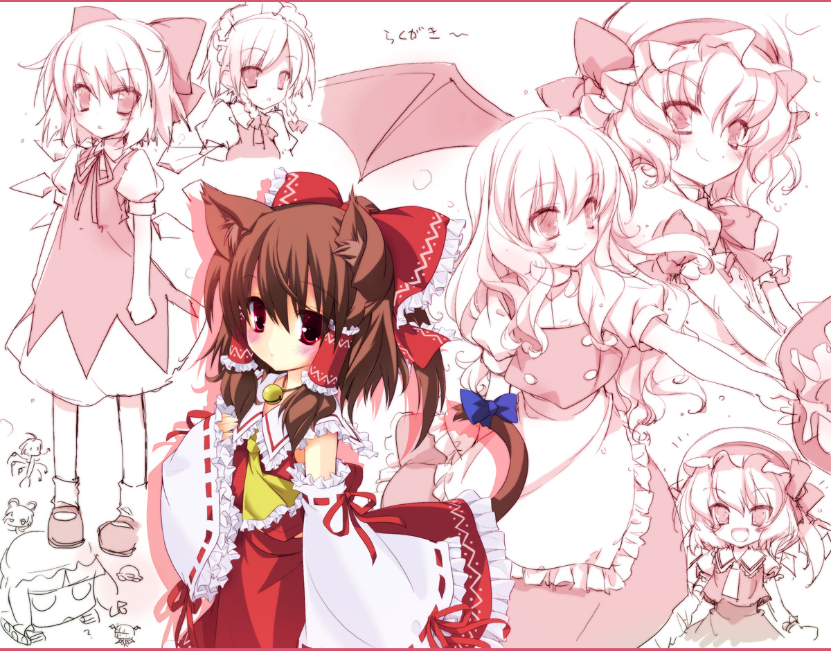 animal_ears bell blush bow brown_hair catgirl cirno demon fairy flandre_scarlet hakurei_reimu hat headdress houjuu_nue izayoi_sakuya japanese_clothes kirisame_marisa koakuma long_hair lucie maid miko mousegirl nazrin patchouli_knowledge red_eyes remilia_scarlet ribbons short_hair sketch tail touhou vampire wings witch