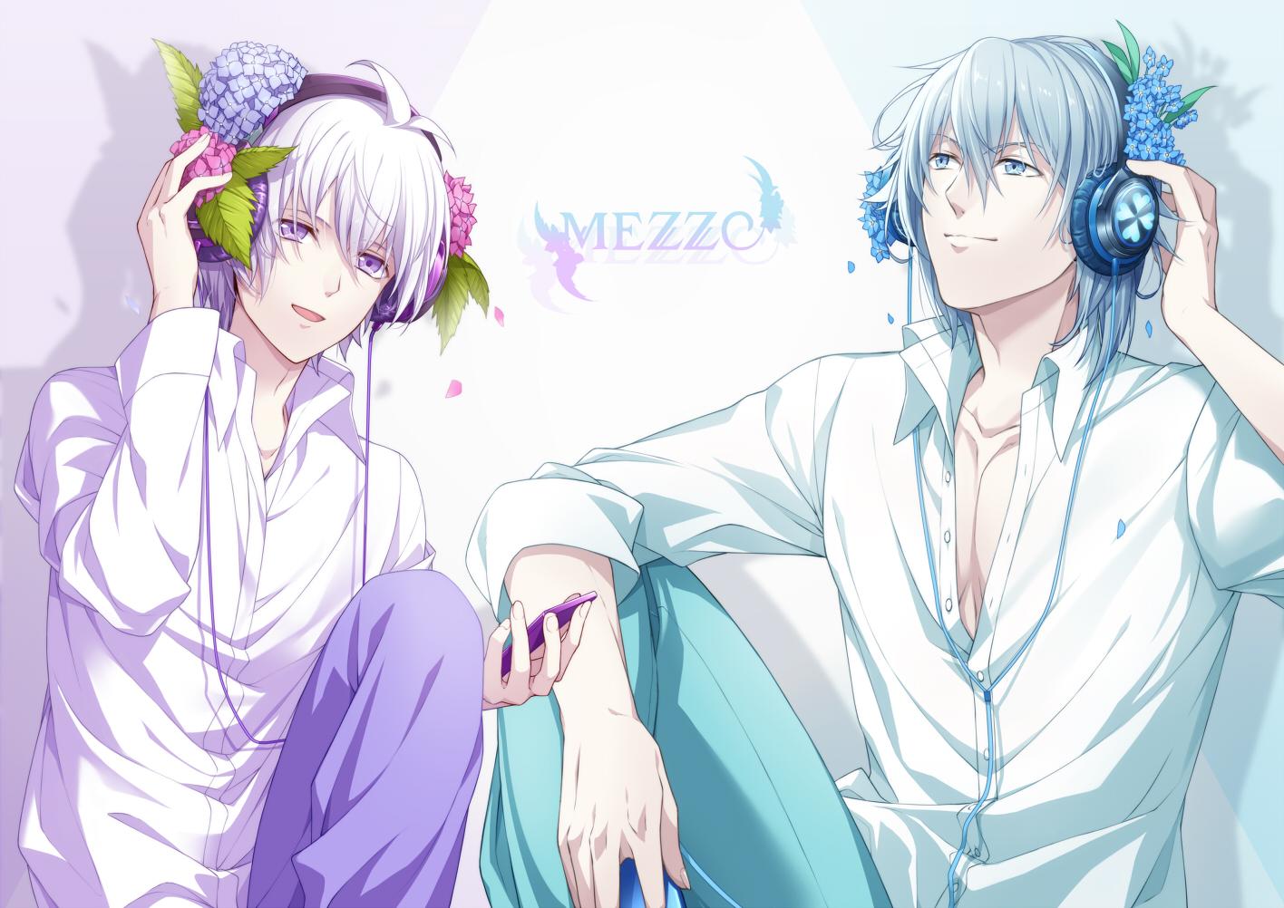 all_male aqua_eyes gray_hair headphones idolish7 male nnm_kmym petals phone purple_eyes purple_hair short_hair tagme_(character) yotsuba_tamaki