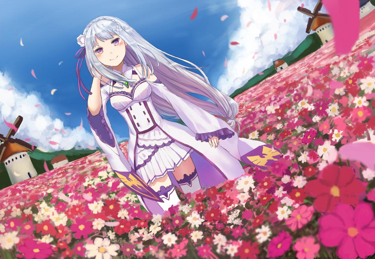 clouds emilia_(re:zero) flowers gray_hair long_hair petals purple_eyes re:zero_kara_hajimeru_isekai_seikatsu skirt sky thighhighs windmill yan_h_chau zettai_ryouiki