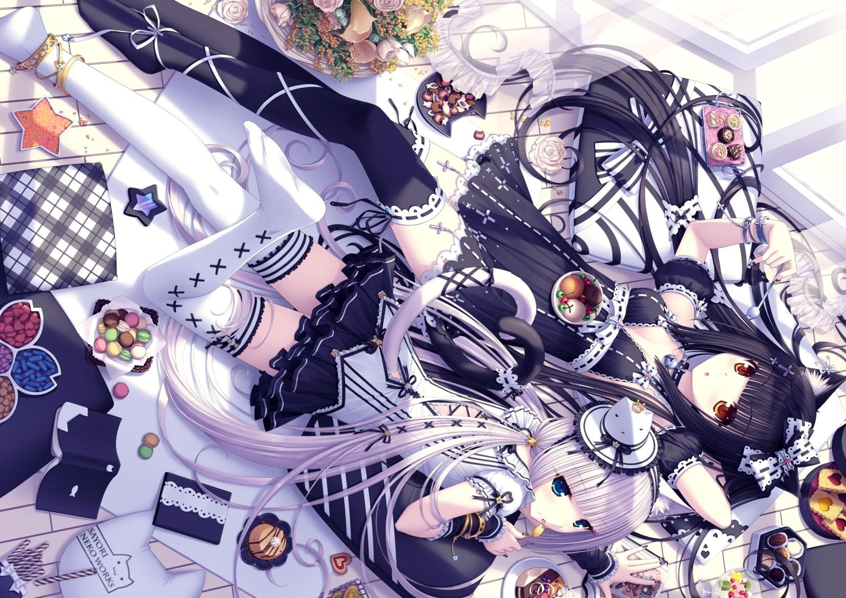 2girls animal_ears bell black_hair blue_eyes book bow candy catgirl chocola_(sayori) collar cross flowers food hat heart lolita_fashion long_hair orange_eyes original ribbons rose sayori shade tail thighhighs vanilla_(sayori) white_hair zettai_ryouiki