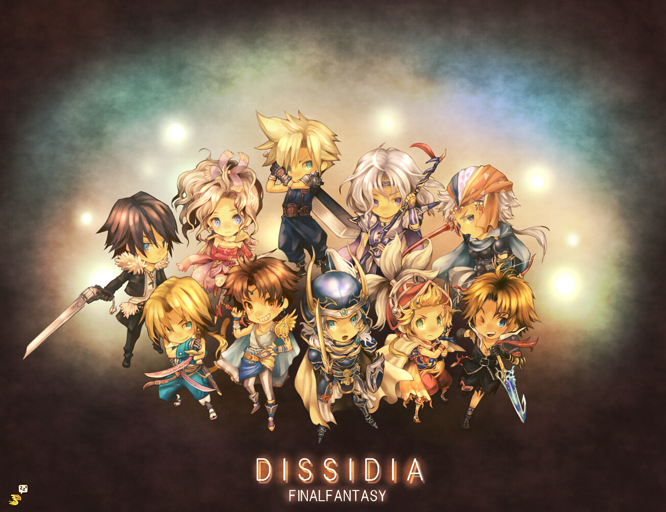 bartz_klauser cecil_harvey chibi cloud_strife dissidia_final_fantasy final_fantasy firion onion_knight squall_leonhart terra_branford tidus warrior_of_light zidane_tribal