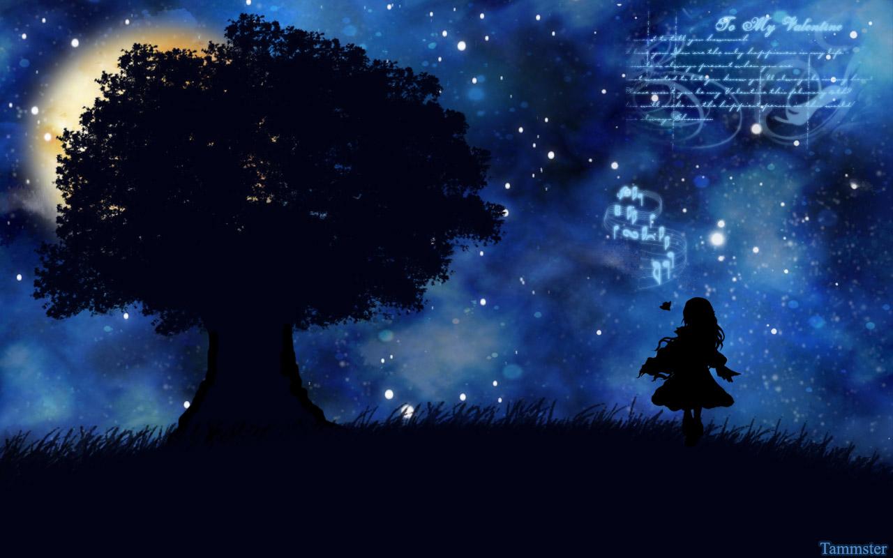 grass night silhouette stars tagme_(artist) tree