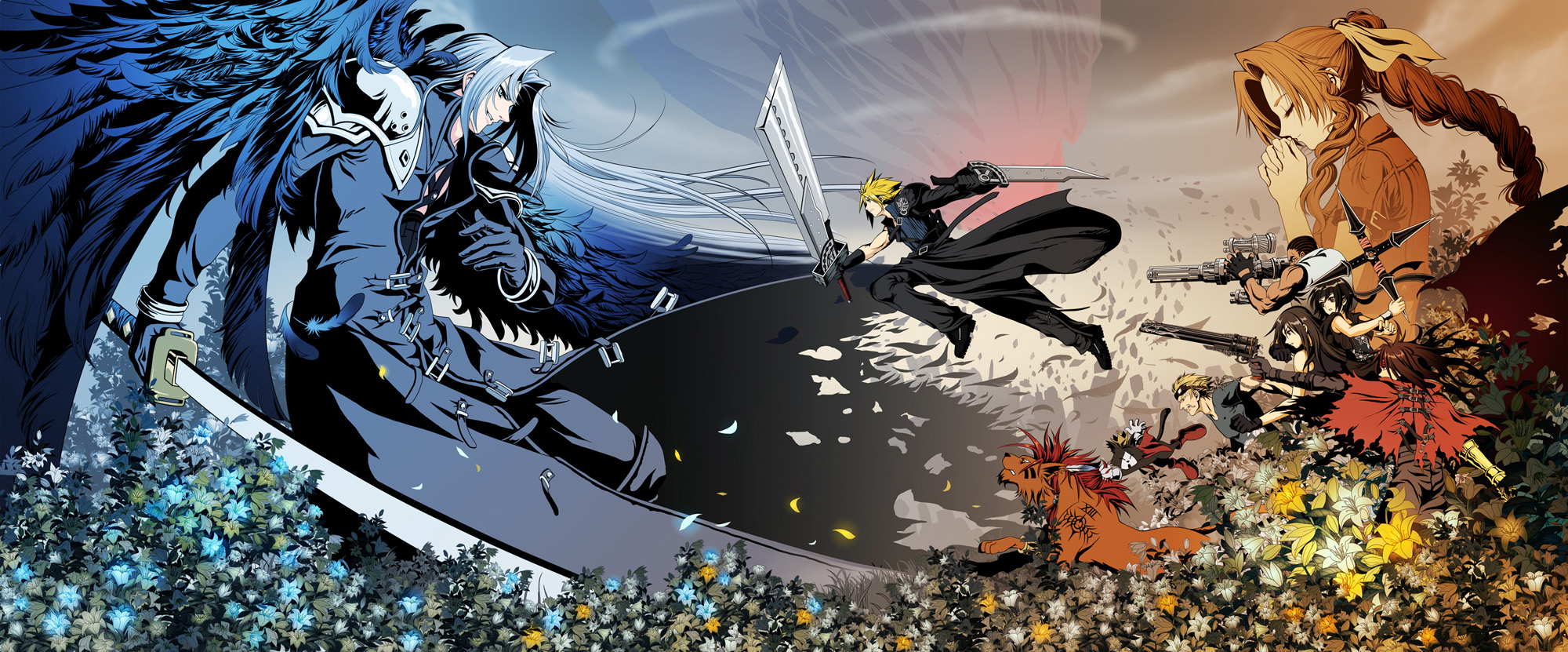 aerith_gainsborough animal barret_wallace blonde_hair blue_eyes blue_hair brown_eyes brown_hair cait_sith cat cid_highwind cloud_strife feathers final_fantasy final_fantasy_vii final_fantasy_vii_advent_children flowers glasses gun long_hair petals red_xiii sephiroth sword tattoo tifa_lockhart vincent_valentine weapon wings yuffie_kisaragi