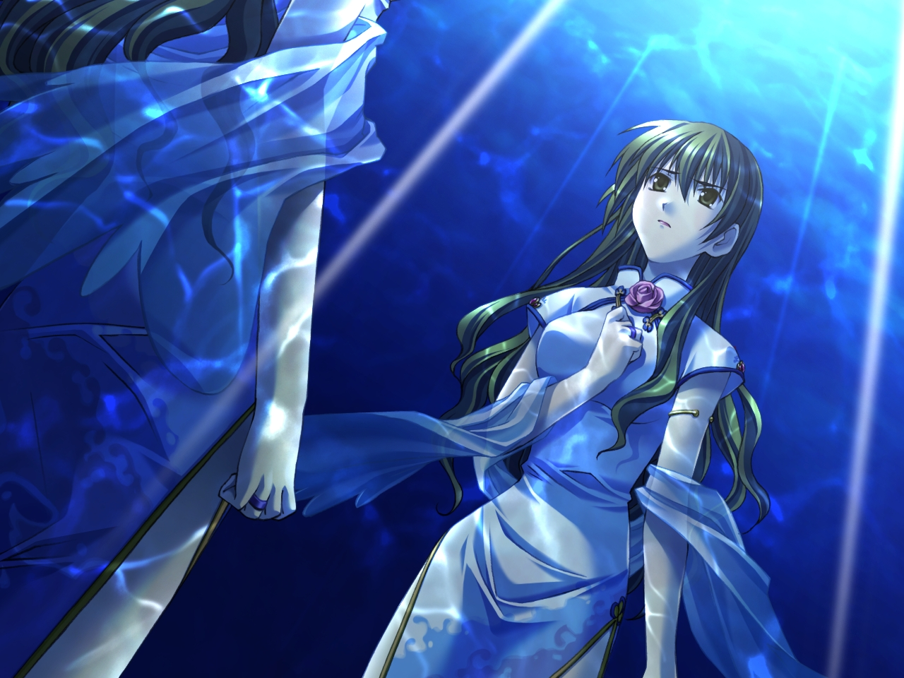 akanegasaki_sora blue chinese_clothes chinese_dress dress ever17 underwater water