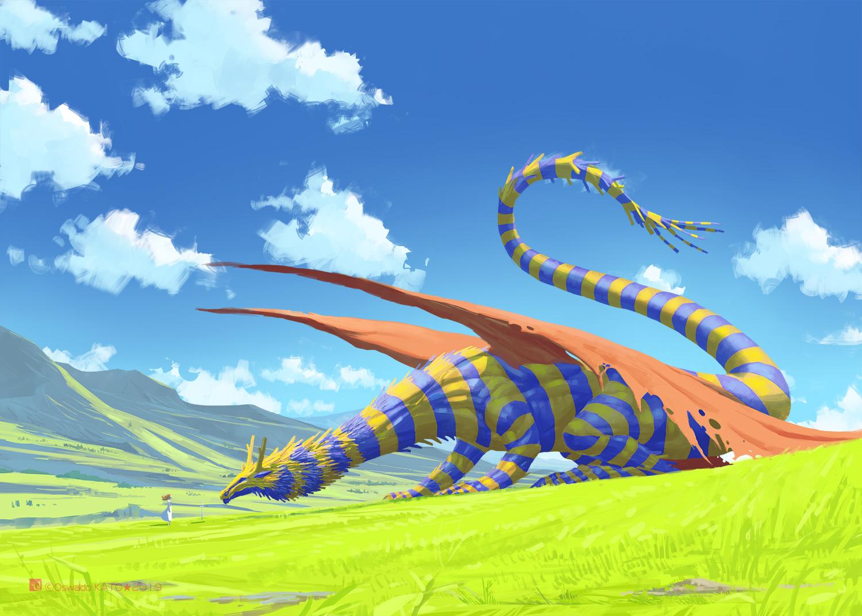 clouds dragon dress grass katou_oswaldo original scenic sky watermark