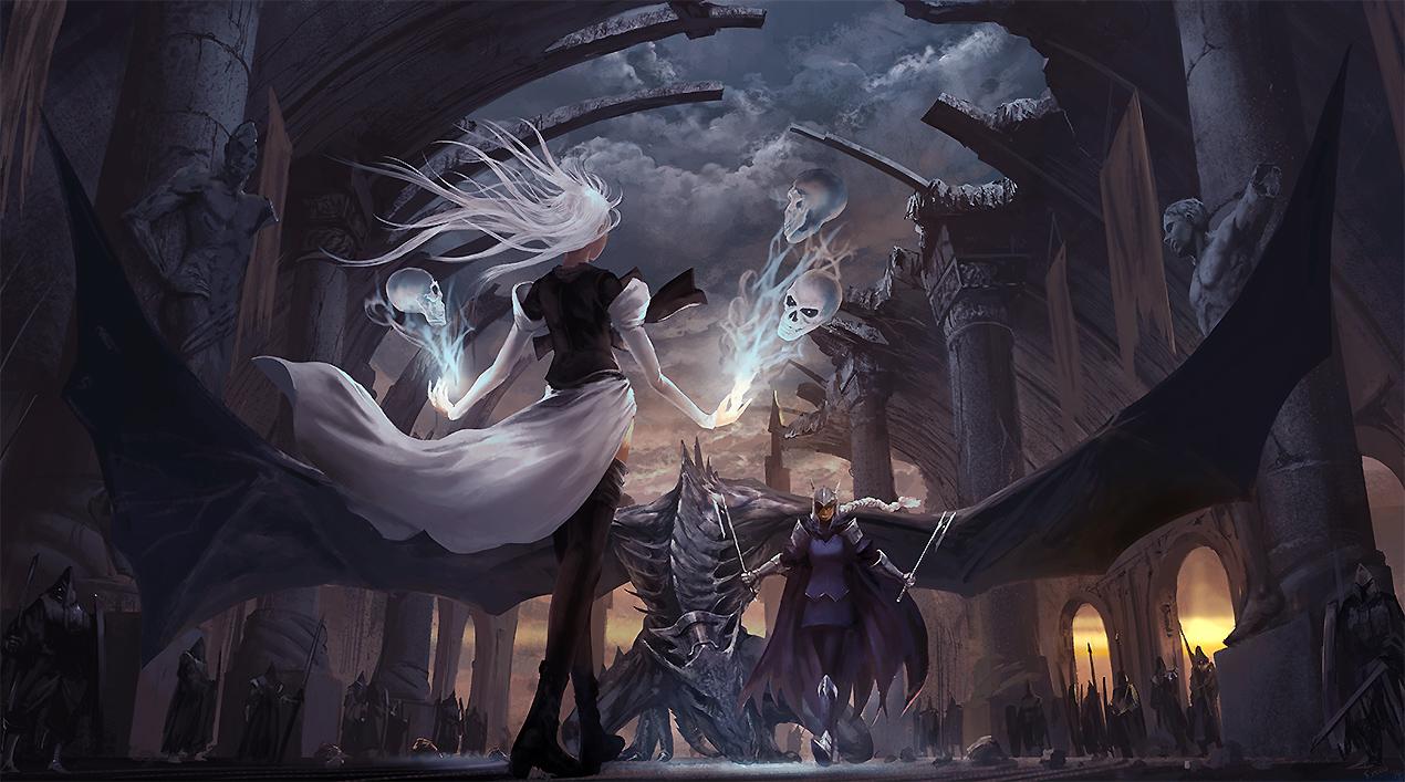 armor clouds dragon noba original pixiv_fantasia skull sky spear sword weapon white_hair