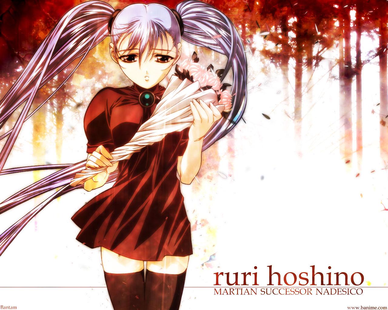 flowers gray_hair hoshino_ruri long_hair martian_successor_nadesico thighhighs twintails yellow_eyes zettai_ryouiki