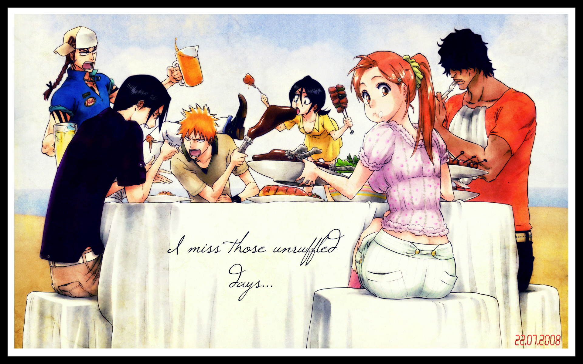 abarai_renji black_eyes black_hair bleach braids brown_eyes brown_hair food glasses group hat inoue_orihime ishida_uryuu kubo_tite kuchiki_rukia kurosaki_ichigo long_hair male orange_hair ponytail red_hair ribbons short_hair shorts yasutora_sado