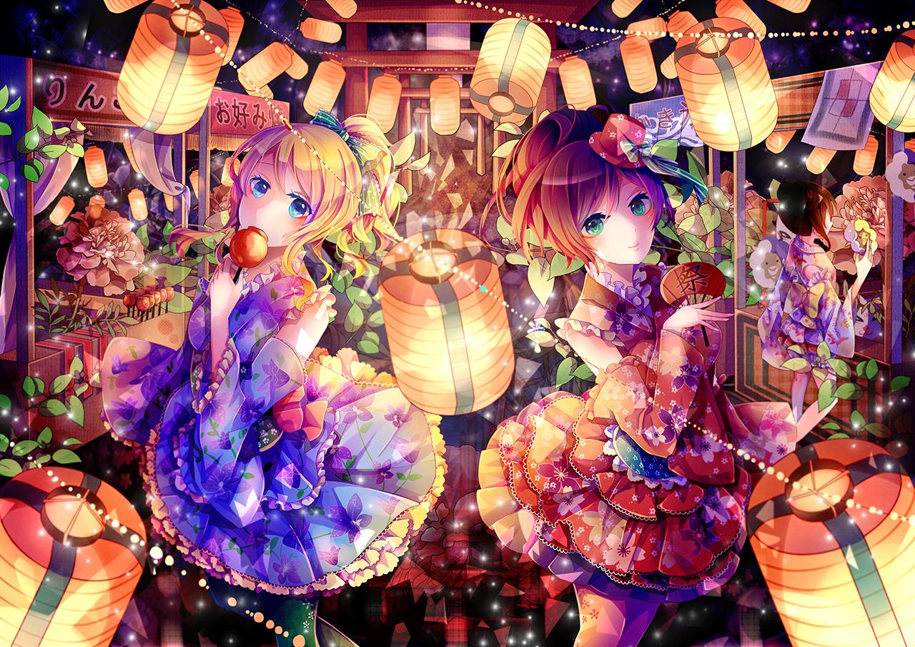 2girls ayase_eri dress fan love_live!_school_idol_project toujou_nozomi yasato yazawa_nico