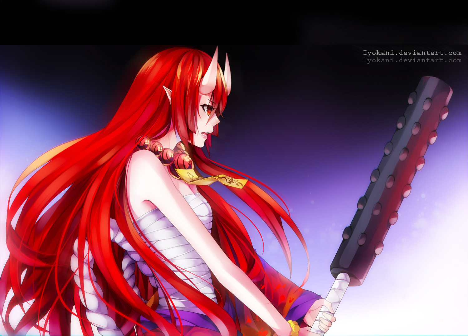 demon horns japanese_clothes long_hair necklace pointed_ears red_eyes red_hair sarashi tagme_(artist) underwear watermark weapon