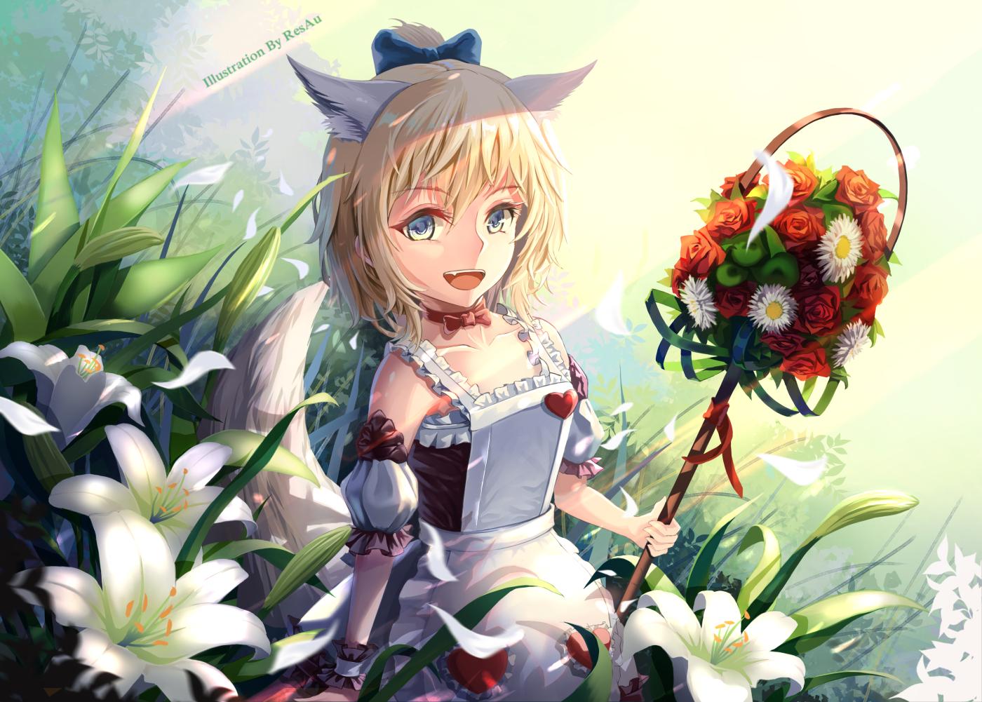 animal_ears apron blade_&_soul blonde_hair bow dress fang flowers petals resau short_hair tagme_(character) tail watermark wings