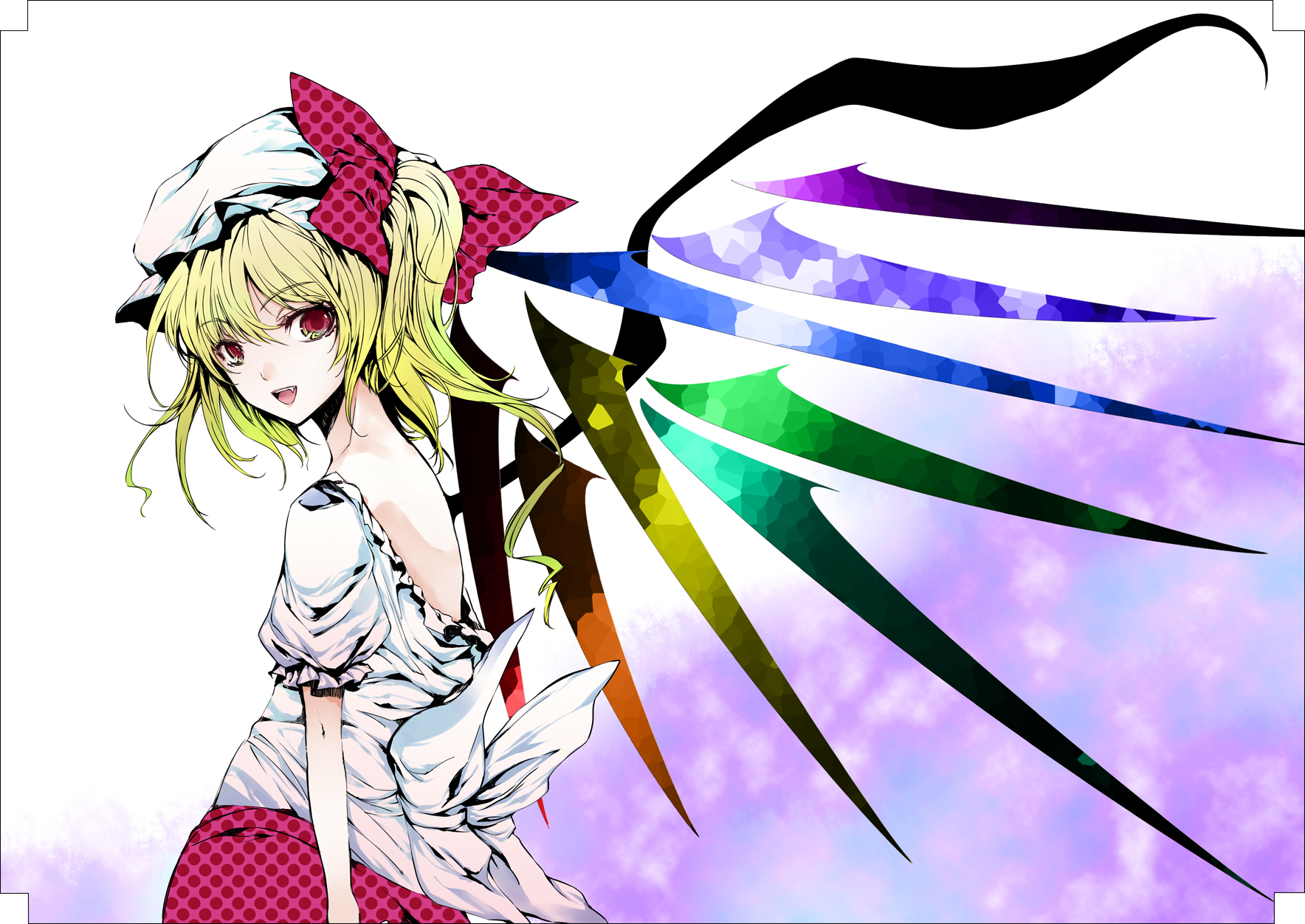 atoshi blonde_hair dress fang flandre_scarlet polychromatic red_eyes ribbons short_hair touhou vampire