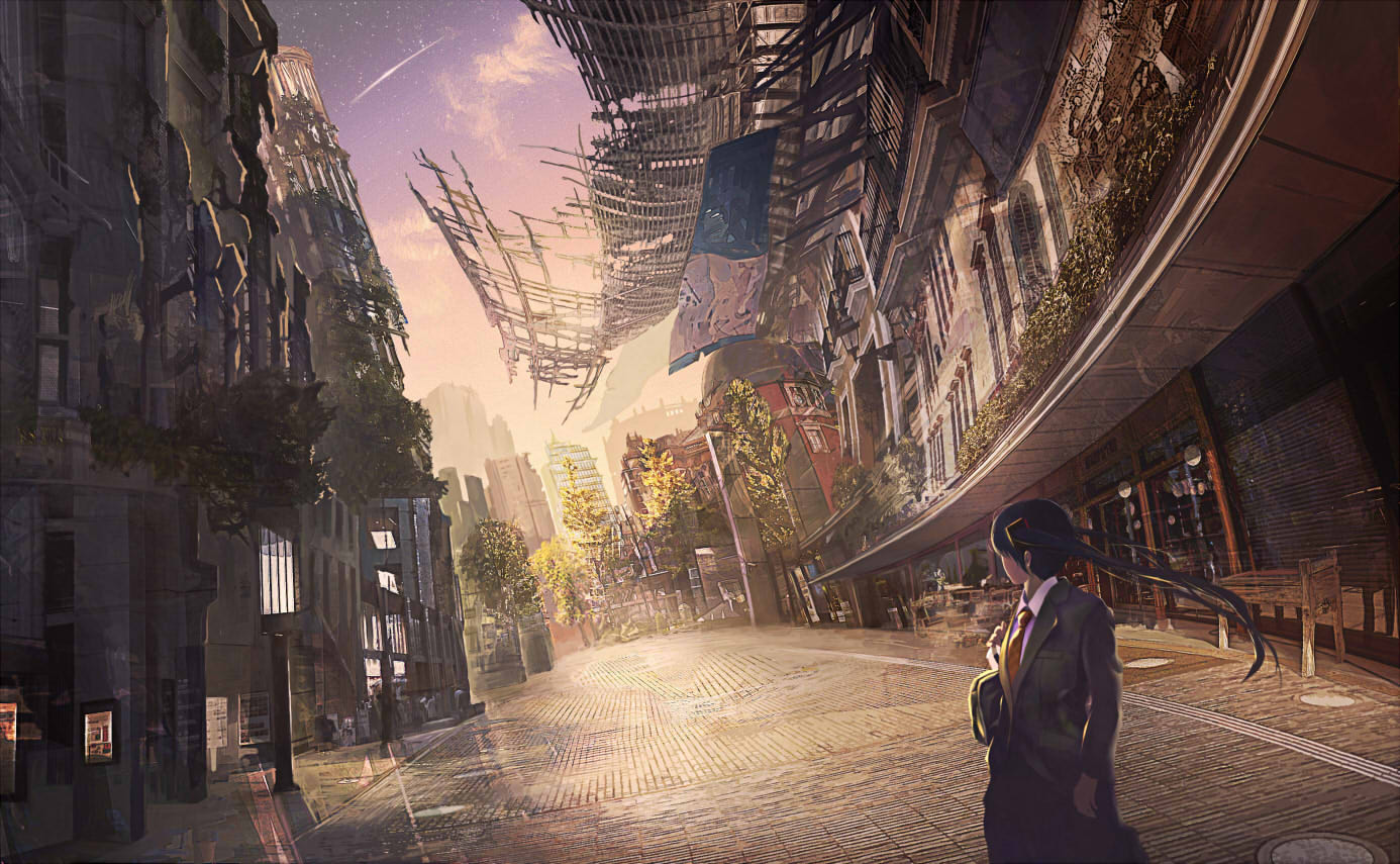 building city clouds haruharu_(u-no_oekaki) hatsune_miku jpeg_artifacts ruins scenic sky stars tie tree twintails vocaloid