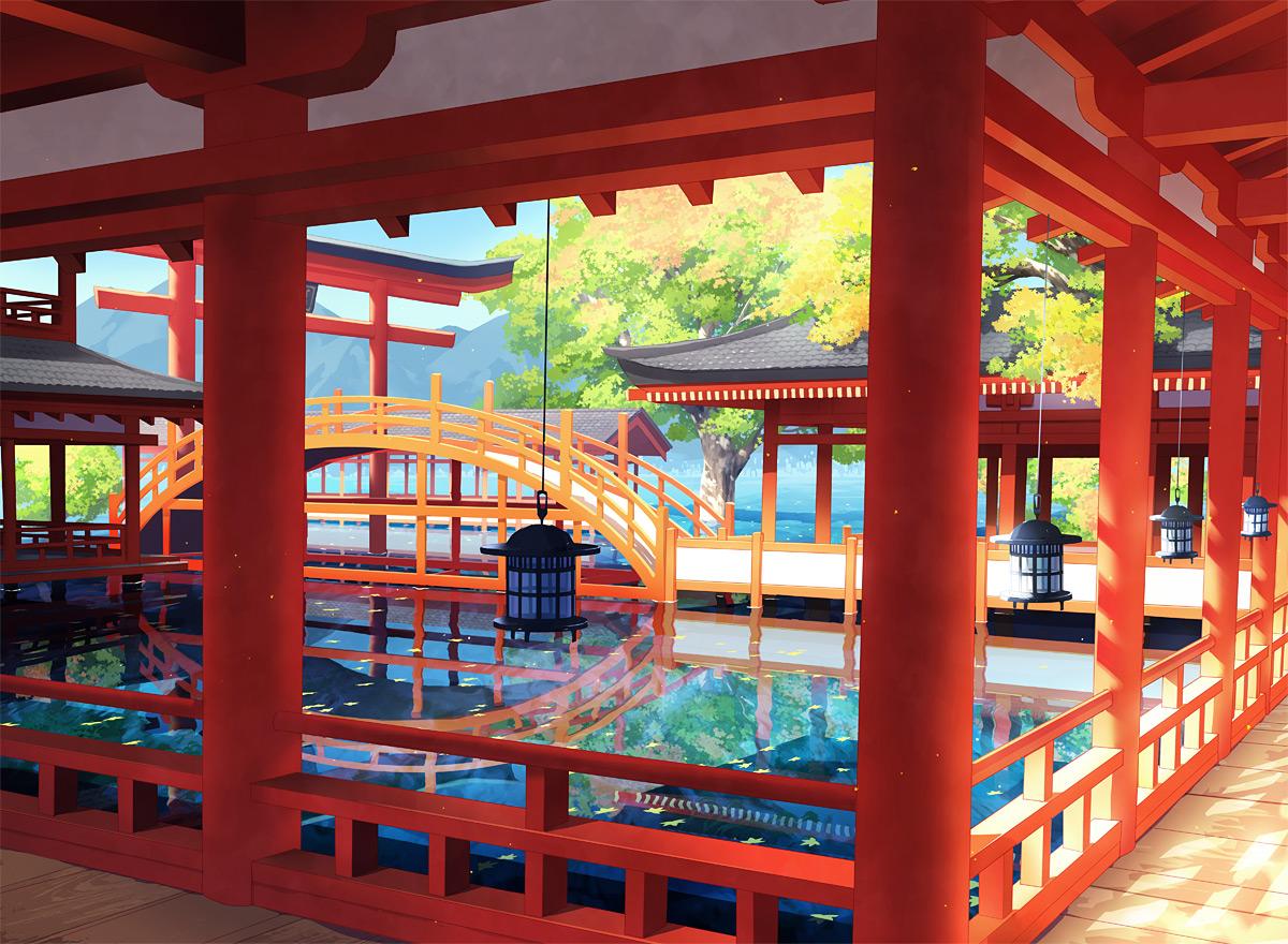 00111 nobody original scenic torii tree water
